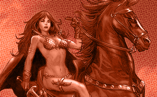 Red Sonja finds her band of mercenaries and herself in the middle of a vicious clan war in this one-shot for Dynamite Comics!